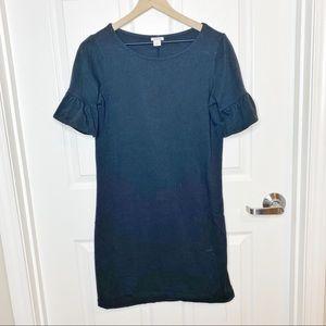 J. Crew Ruffle Sleeve Solid Shift Black Dress